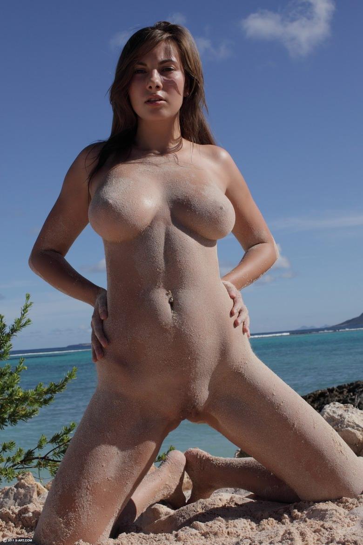 Brunette naked nudist goddess spied at the beach voyeur 7