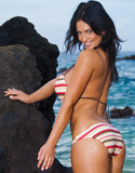 Denise milani striped bikini