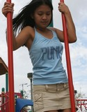 Kat having fun on the playground