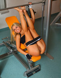 Sabrina blond works out hard