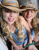 Texas twins with a hose yee haw!