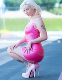 Lynn pops pics pink latex dress